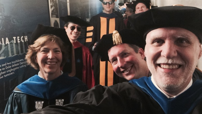 Professor Jeffery T. Glass takes a selfie with fellow colleagues at the 2014 Duke University graduation ceremony
