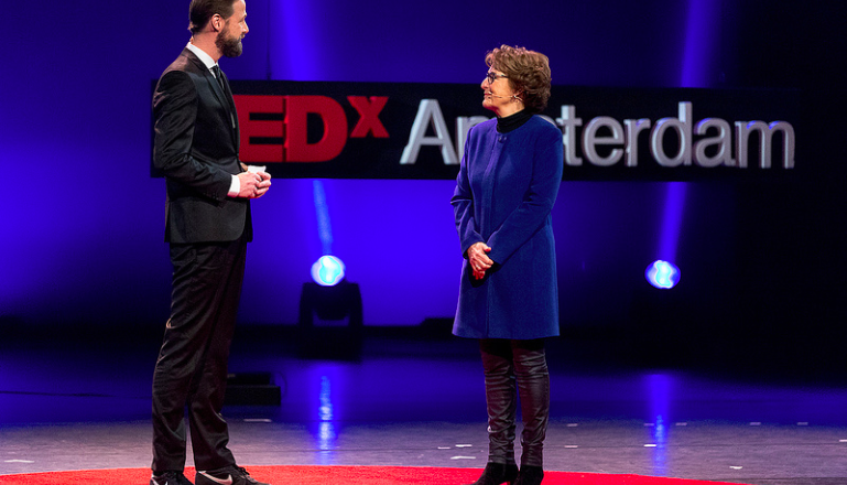 Jim Stolze and HRH Princess Margriet, TEDxAmsterdam. Photo credit: Kim Hanskamp