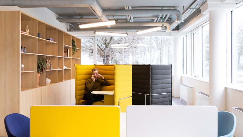 Man sitting in a coworking office in brussels airport